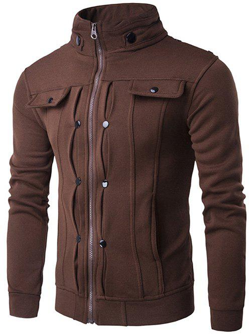 Sale Stand Collar Buttoned Pleated Zip Up Jacket