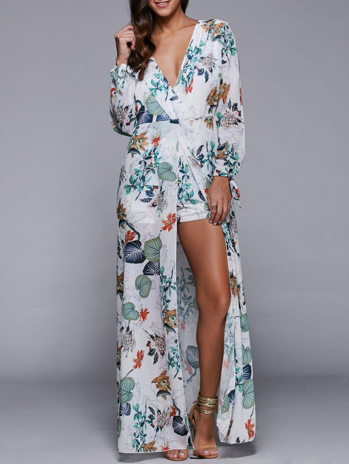 Discount Plunging Neck Overlay Leaf Print High Slit Romper