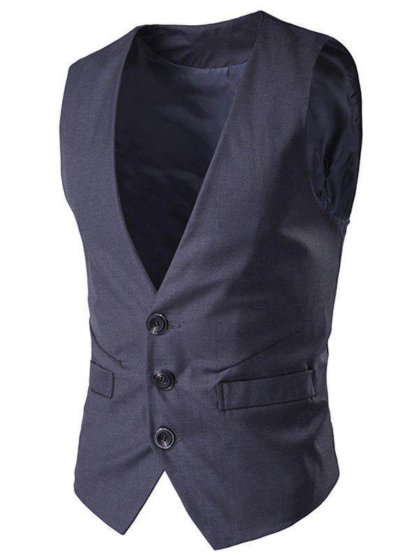 Sale Buckle Back Mock Pocket Single Breasted Formal Waistcoat