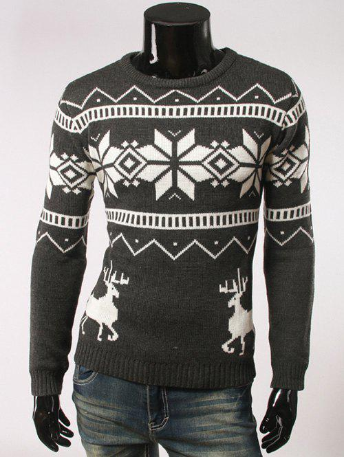 Fawn and Snow Pattern Round Collar Christmas SweaterMEN<br><br>Size: 2XL; Color: DEEP GRAY; Type: Pullovers; Material: Cotton,Spandex; Sleeve Length: Full; Collar: Round Neck; Technics: Computer Knitted; Style: Casual; Weight: 0.500kg; Package Contents: 1 x Sweater;