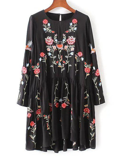 Outfits Floral Embroidered Smock Dress