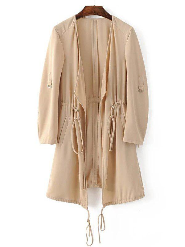 Fancy Adjustable Sleeve Drawstring Waist Trench Coat
