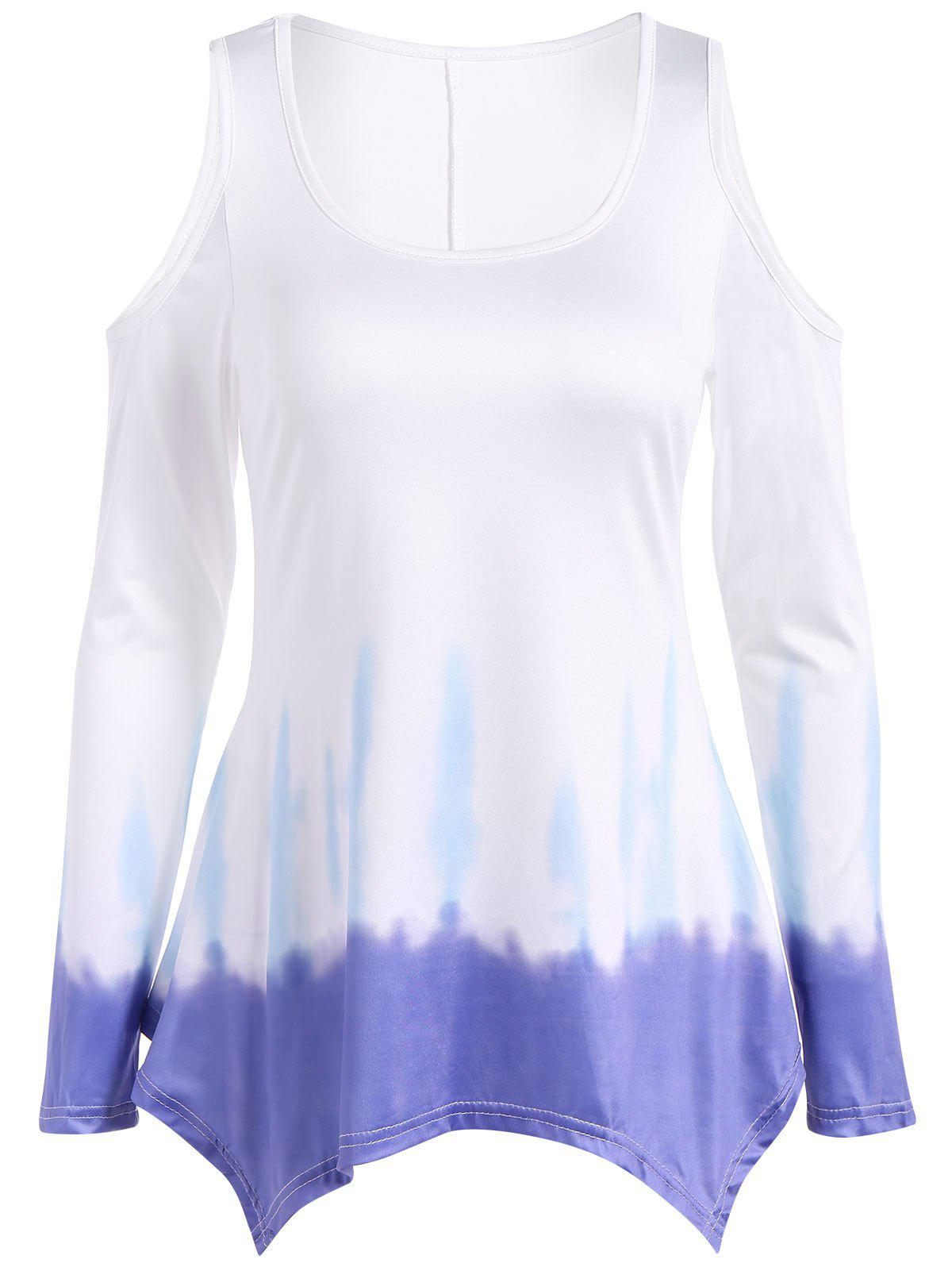 752686389725e4 42% OFF   2018 Long Sleeve Cold Shoulder Tie Dye Tee In Multicolor S ...