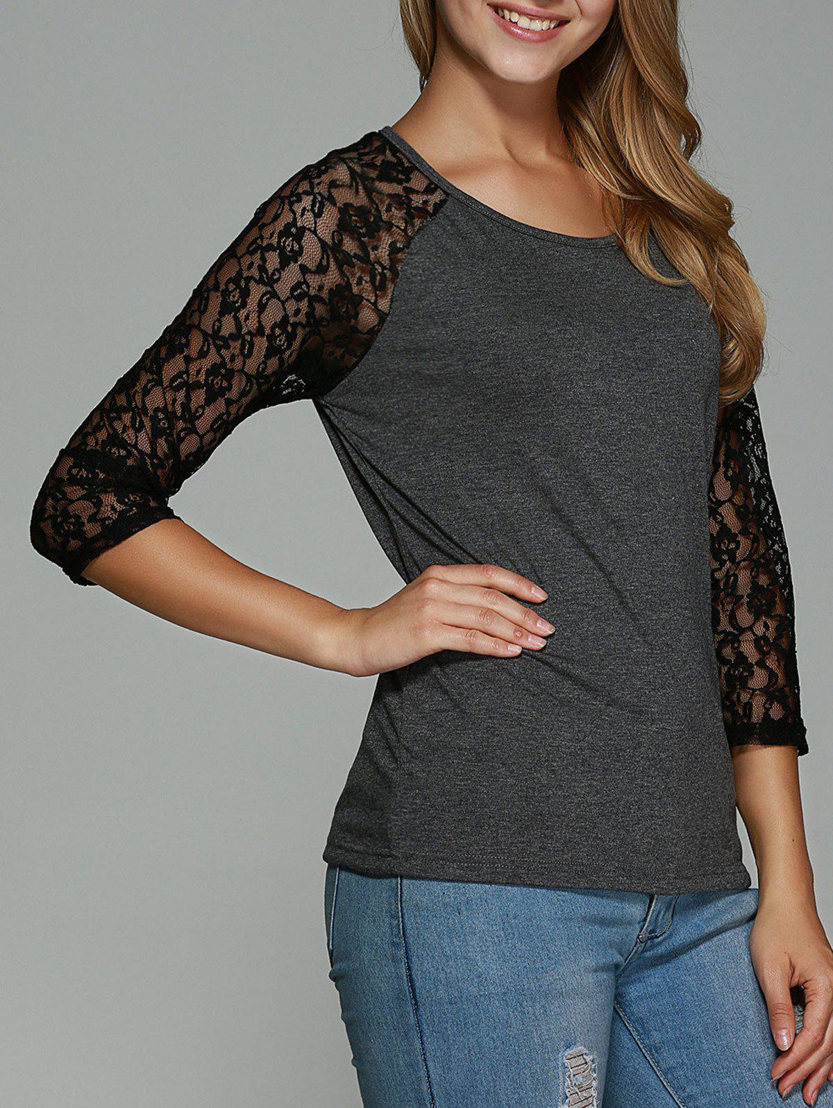 Trendy Lace Splicing Hollow Out T-Shirt