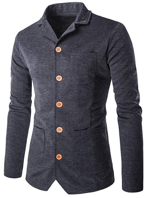 Col rabattu single-breasted poches design Jacket gris foncé M