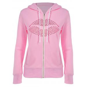 Drawstring Lip Pattern Zip Up Hoodie - Pink - S