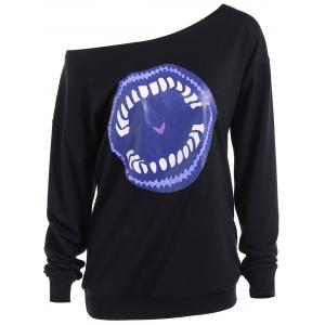 Skew Neck Cartoon Lip Print Sweatshirt