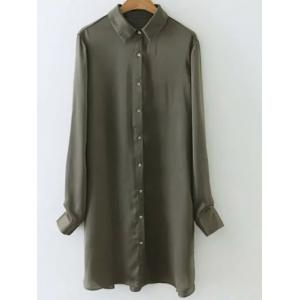 Satin Glossy Embroidered Back Long Shirt - Army Green - S