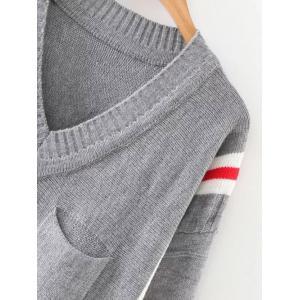 Striped Long Sweater - GRAY ONE SIZE