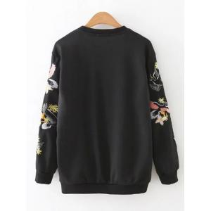 Relaxed Embroidered Sweatshirt - BLACK L