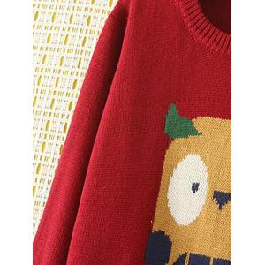 Cartoon Jacquard Knit Sweater - WINE RED 4XL