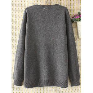 Oversized Embroidered Cartoon Sweater - GRAY 3XL