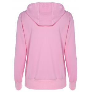 Drawstring Lip Pattern Zip Up Hoodie - PINK XL