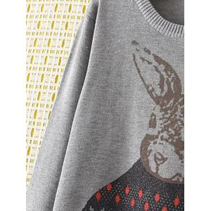 Plus Size Cute Bunny Sweater - GRAY 4XL