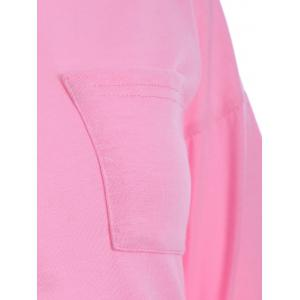 Buttoned Long Sleeve Asymmetric Tee - PINK XL