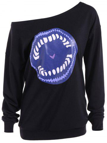 Hot Skew Neck Cartoon Lip Print Sweatshirt BLACK XL