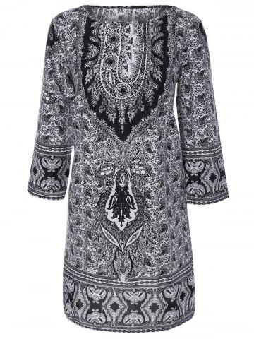 Chic Paisley Print Shift Dress