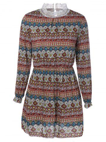 Fancy High Collar Long Sleeve Printed Dress