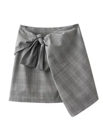 Online Plaid Mini Wrap Skirt
