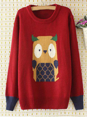 Unique Cartoon Jacquard Knit Sweater WINE RED 4XL