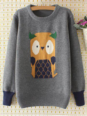 Trendy Cartoon Jacquard Knit Sweater GRAY 3XL