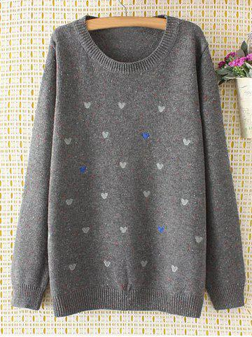 Shop Oversized Embroidered Cartoon Sweater GRAY 3XL