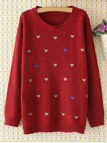 Latest Oversized Embroidered Cartoon Sweater WINE RED 4XL