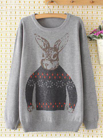 Outfits Plus Size Cute Bunny Sweater GRAY 4XL