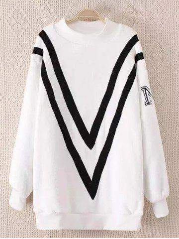 Chic Fluffy Plus Size Sherpa Chevron Sweatshirt