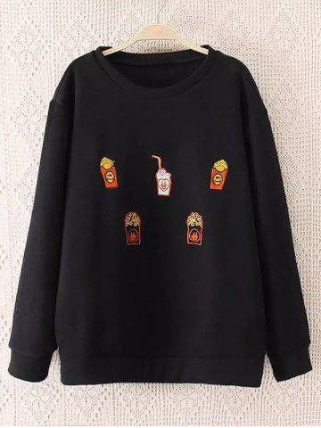 Unique Plus Size Drinks Embroidered Sweatshirt