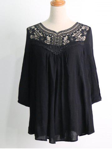 New Crochet Trim Flowy Blouse BLACK 2XL