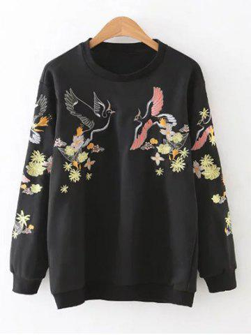 Outfit Relaxed Embroidered Sweatshirt BLACK L
