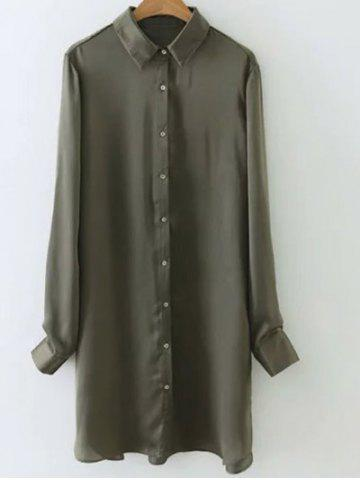 Satin Glossy Embroidered Back Long Shirt - ARMY GREEN M