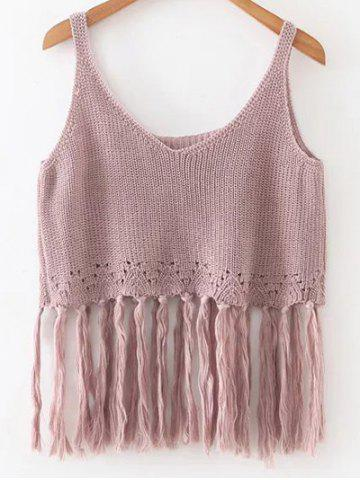 Latest Knitted Crop Top With Tassels