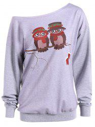 Skew Neck Owl Cartoon Print Sweatshirt - Gris