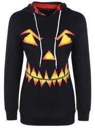 Pumpkin Head Drawstring Halloween Hoodie - BLACK