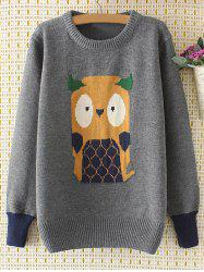 Cartoon Jacquard Knit Sweater - GRAY 3XL