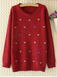 Oversized Embroidered Cartoon Sweater - WINE RED 4XL