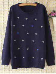 Oversized Embroidered Cartoon Sweater - PURPLISH BLUE