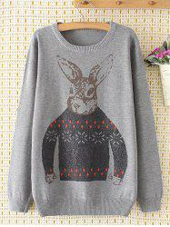 Plus Size Cute Bunny Sweater - GRAY