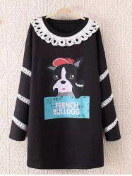 Cartoon Character Print Long Sweatshirt - BLACK