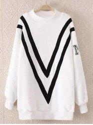 Fluffy Plus Size Sherpa Chevron Sweatshirt -