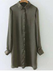 Satin Glossy Embroidered Back Long Shirt