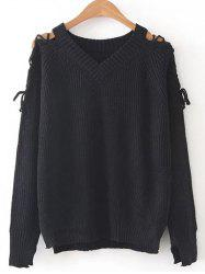 Step Hem Lacing Sleeve Jumper