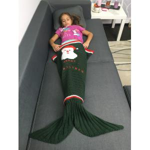 Knitted Santa Claus Pattern Openwork Christmas Mermaid Blanket - Blackish Green