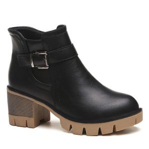 Platform Belt Buckle Zip Ankle Boots - Black - 39