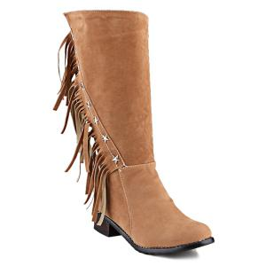 Metal Stars Fringe Zipper Mid Calf Boots - Light Brown - 38