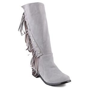 Metal Stars Fringe Zipper Mid Calf Boots - Light Gray - 41