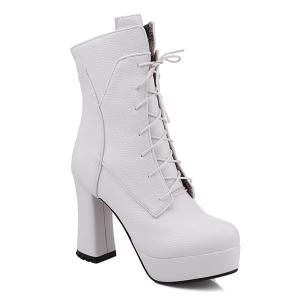 Platform Textured Leather Lace-Up Short Boots - White - 41