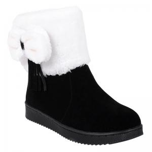 Fringe Bow Suede Snow Boots - Black - 38